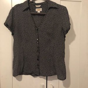 Black & White Button-Up Blouse